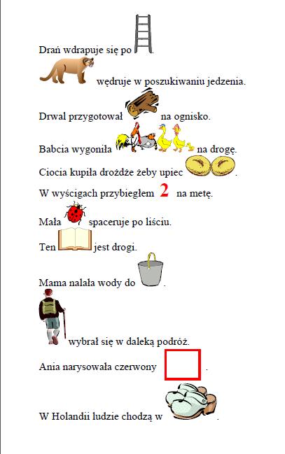 Zdania z obrazkami- połącznie [dr]