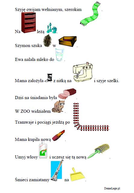 Zdania z obrazkami- głoska [sz] w nagłosie