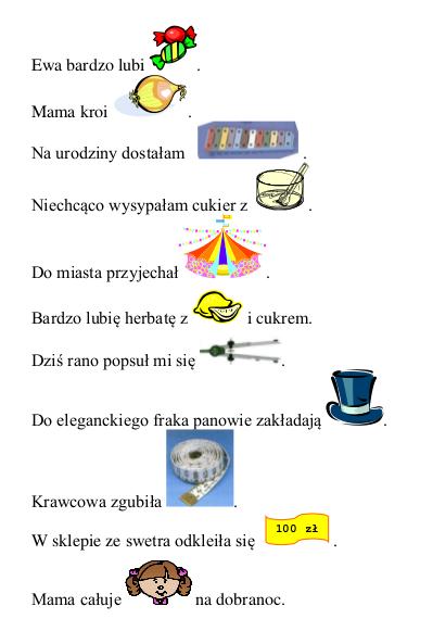 zdania z obrazkami głoska c