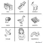 Logopedyczne kółko i krzyżyk z głoską [g]
