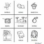 Logopedyczne kółko i krzyżyk z głoską [b]
