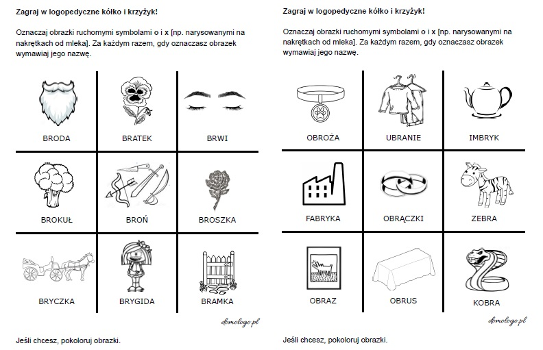 logopedyczna gra w kółko i krzyżyk z głoską [r] do wydrukowania