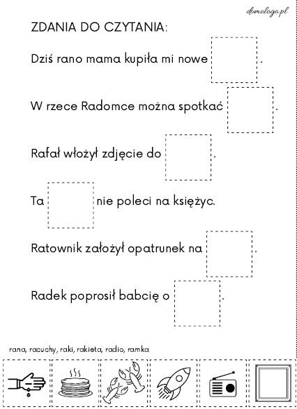 zdania do czytania [ra] terapia logopedyczna głoski [r]